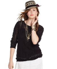Denim And Supply Ralph Lauren Open Knit Cable Sweater Polo Black