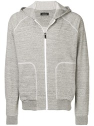 Z Zegna Zipped Hooded Jacket Grey