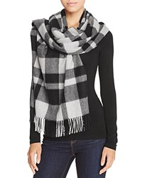 Bloomingdale's C By Color Block Cashmere Wrap Scarf Black Gray
