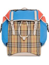 Burberry Check Panel Ranger Backpack Yellow And Orange
