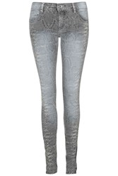 Snakeskin Printed Jeans By Rare Grey