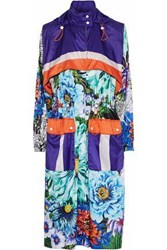 Mary Katrantzou Woman Paint By Numbers Printed Satin Hooded Coat Turquoise