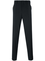 Neil Barrett Contrast Color Band Trousers Men Silk Cotton Polyester Wool 46 Black