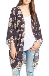 David And Young Women's Tassel Floral Ruana Navy