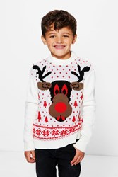 Boohoo Rudolph Christmas Jumper Ivory