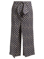 Stella Jean Storica Circle Print Cropped Linen Trousers Navy Multi
