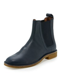 Bottega Veneta Pebbled Leather Chelsea Boot Navy
