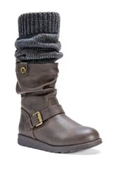 Muk Luks Sky Knit Cuff Faux Fur Lined Boot Brown