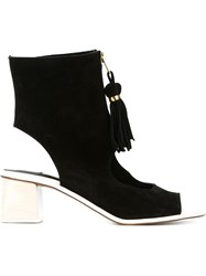 L'autre Chose Tasseled Cut Out Booties Black
