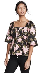 Wayf Aberdine Puff Sleeve Top Black Roses