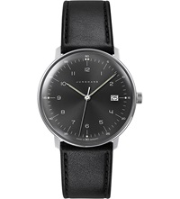 Junghans 041 4462.00 Max Bill Stainless Steel And Leather Quartz Watch Black