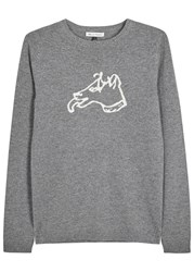 Bella Freud Grey Dog Intarsia Cashmere Jumper