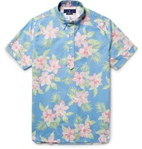 Polo Ralph Lauren Button Down Collar Floral Print Cotton Oxford Shirt Blue