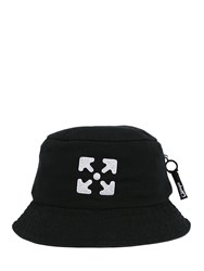 Off White Logo Embroidery Cotton Canvas Bucket Hat Black