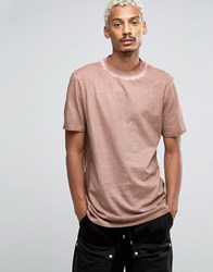 Asos Super Longline Heavyweight T Shirt With Cold Pigment Wash In Camel Juglans Brown