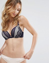 New Look Lace Padded Bra Navy