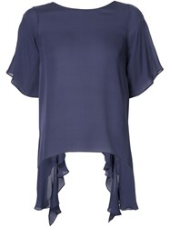 Elizabeth And James Sheer Short Sleeve Blouse Blue