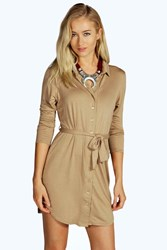 Boohoo Button Through Collar Shirt Dress Camel