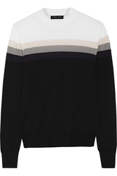Jonathan Saunders Elliot Striped Wool Sweater Black