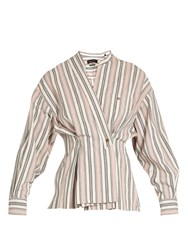 Isabel Marant Silvia Striped Cotton Wrap Top Pink Multi