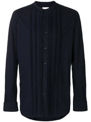 Paolo Pecora Pleated Button Shirt Blue
