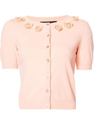 Boutique Moschino Flower Embellished Shortsleeved Cardigan Pink Purple