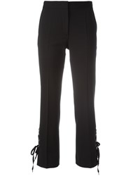 Alberta Ferretti Lace Up Side Cropped Trousers Black