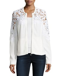 Bagatelle Crochet Lace Inset Bomber Jacket White Women's