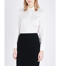Armani Collezioni Peter Pan Collar Stretch Silk Shirt Ivory