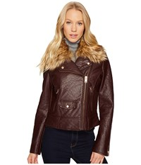 Marc New York Beverly 20 Faux Bubble Leather Jacket Burgundy Women's Coat