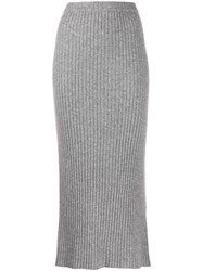 Allude Midi Tube Skirt Grey