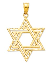 Macy's 14K Gold Charm Cut Out Star Of David Charm