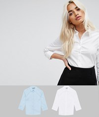 Asos Petite 3 4 Sleeve Shirt In Stretch Cotton 2 Pack Blue White Multi