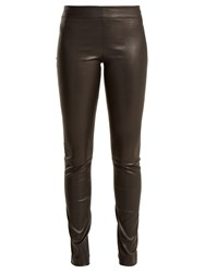 The Row Moto Leather Trousers Black