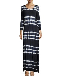 Neiman Marcus Tie Dye Long Sleeve Maxi Dress Navy White