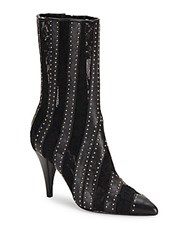 Alice Olivia Calix Embellished Leather Ankle Boots Black