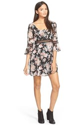 Junior Women's Want And Need Floral Print Chiffon Skater Dress