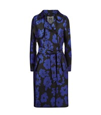 Milly Floral Print Trench Coat Female Black