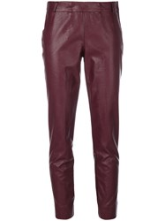Kiltie Cropped Trousers Polyurethane Viscose Red