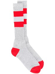 Facetasm Double Stripe Socks Men Cotton One Size Grey