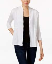 Ny Collection Petite Pointelle Open Front Cardigan White