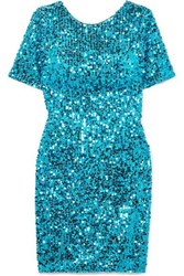 Galvan Sequined Georgette Mini Dress Jade