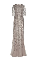 Monique Lhuillier Embroidered Gown With Integral Cape Silver