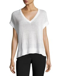 Brunello Cucinelli Paillette Embellished Short Sleeve Sweater White
