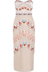 Temperley London Valencia Embroidered Silk Blend Satin And Organza Midi Dress Nude