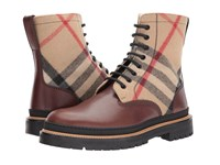 Burberry William Check Boot Mid Camel Boots Brown