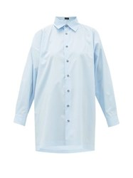 Eskandar Longline Flared Cotton Poplin Shirt Light Blue