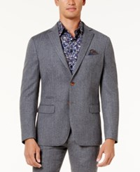 Tallia Men's Slim Fit Light Gray Herringbone Sport Coat Lt Pas Gry