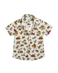 Mayoral Short Sleeve Jungle Print Shirt W Henley Tee Size 12 36 Months White