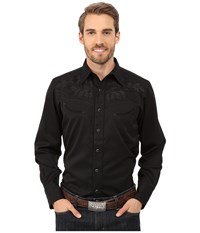 Roper 0073 Tonal Leaf Black Men's Long Sleeve Button Up